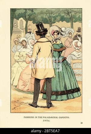 Fashions in the Palais-Royal Gardens, 1837. Woman in dress with wide skirt, fur-trim pardessus coat, large bonnet. Man in paletot coat and top hat. Jardin du Palais-Royal has rows of trees. Handcoloured lithograph by R.V. after an illustration by Francois Courboin from Octave Uzannes Fashion in Paris, William Heinemann, London, 1898. - Stock Photo