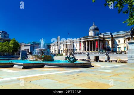 21 May 2020, London, UK - Trafalgar Square and the National Gallery completely empty and deserted during the Coronavirus outbreak lockdown