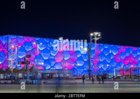 BEIJING / CHINA - February 7, 2015: Night view of the Beijing National Aquatics Center (Water Cube) in Beijing Olympic Park, venue of swimming competi - Stock Photo