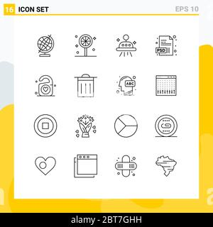 User Interface Pack of 16 Basic Outlines of trash, wedding, ufo, heart, tag Editable Vector Design Elements - Stock Photo