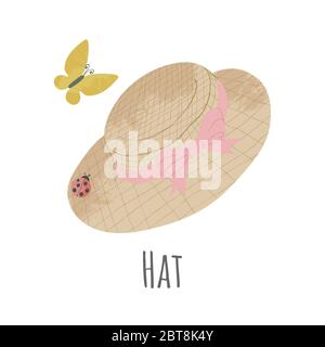 Vector hand drawn icon of straw hat with pink ribbon. Cartoon illustration in flat style. Gardening hat on white background - Stock Photo