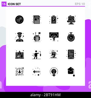 16 Universal Solid Glyphs Set for Web and Mobile Applications taxi, car, taxes, cake, food Editable Vector Design Elements - Stock Photo