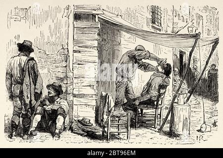 Outdoor barber, Rome. Italy, Europe. Trip to Rome by Francis Wey 19Th Century - Stock Photo