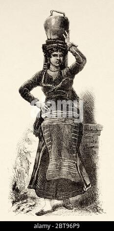 Woman from a village with typical costumes, Rome. Italy, Europe. Trip to Rome by Francis Wey 19Th Century - Stock Photo