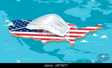 Map Of The United States Of America With USA Flag and Face Mask