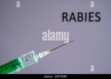 This photo illustration shows a disposable syringe with hypodermic needle, RABIES written on a grey board behind Stock Photo