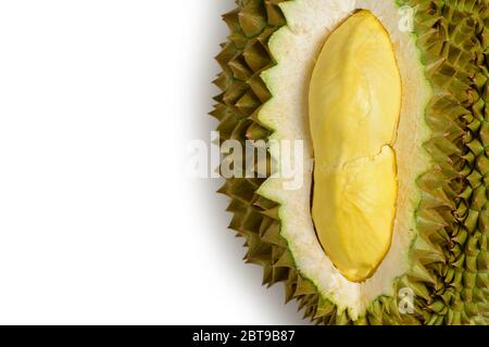 King  of fruits, Close uo of yellow durian in side Mon Thong durian fruit isolated on white background, summer fruits, popular and expensive of all Th - Stock Photo