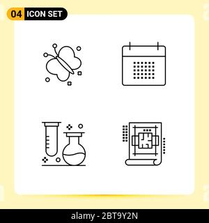 4 User Interface Line Pack of modern Signs and Symbols of butterfly, chemistry, beauty, date, laboratory Editable Vector Design Elements - Stock Photo