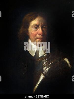 Oliver Cromwell. Portrait of Oliver Cromwell (1599-1658) in armour, after Sir Peter Lely, oil on canvas, 19th century - Stock Photo