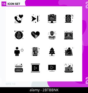 Pack of 16 creative Solid Glyphs of wifi, internet of things, resume, internet, cv Editable Vector Design Elements - Stock Photo