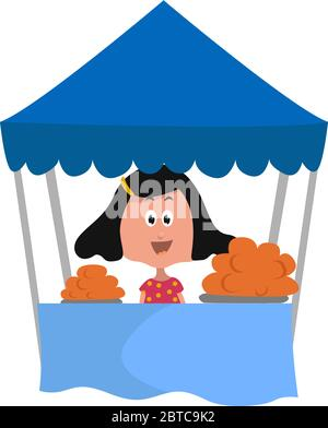 Girl under blue tent , illustration, vector on white background - Stock Photo