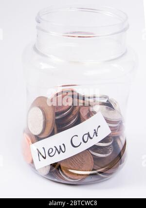 New car money saving in a jar - Stock Photo