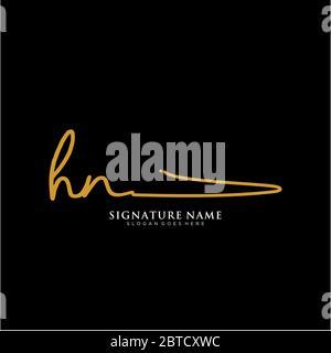 Initials HN signature logo. Handwriting logovector templates. Logo for business, beauty,fashion, signature - Stock Photo