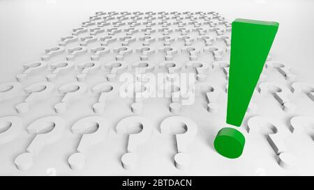 One green exclamation mark and many question marks in line and order aligned on white background, 3d rendering, rendered illustration, digital concept - Stock Photo