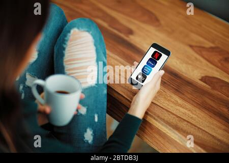 VERONA, ITALY - 01 MAY, 2020: Video Streaming apps like Disney plus, Apple TV plus, amazon prime and netflix on Apple iPhone. 3d rendering - Stock Photo