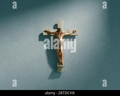 Crucifix on wall in spotlight inside old dark church or cathedral. Jesus Christ on cross. Religion, belief and hope. Holy and sacred places. 3d