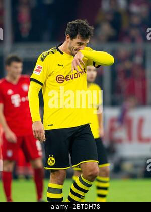 Preview Borussia Dortmund-FC Bayern Munich on May 26th, 2020. Archive photo: Mats HUMMELS (# 15, DO). Soccer, FC Bayern Munich (M) - Borussia Dortmund (DO) 4: 0, Bundesliga, 11th matchday, season 2019/2020, on November 9th, 2019 in Muenchen/ALLIANZARENA/Germany. Editor's note: DFL regulations prohibit any use of photographs as image sequences and/or quasi-video. å   usage worldwide - Stock Photo