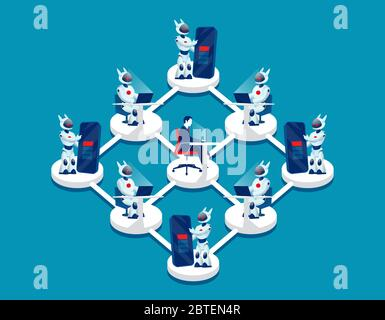 Vector of a businessman controlling managing a network of robots - Stock Photo