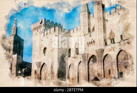 Watercolor painting of the entrance to the Palace of the Popes in Avignon, France. - Stock Photo