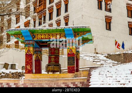 Prayer Wheel located in Thiksey Monastery in Ladakh situated in Jammu and Kashmir, India. It is believed that spinning these wheels brings good luck. - Stock Photo