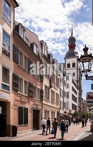 the Beethoven house on the street Bonngasse, birthplace of the composer Ludwig van Beethoven, in the background the Namen-Jesu church, Bonn, North Rhi - Stock Photo