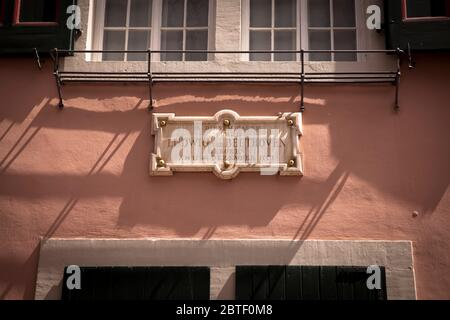 marble plate on the facade of the Beethoven house on the street Bonngasse, birthplace of the composer Ludwig van Beethoven, Bonn, North Rhine-Westphal - Stock Photo