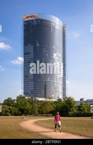 view from the Rhine floodplain to the Post Tower, headquarters of the logistics company Deutsche Post DHL Group, Bonn, North Rhine-Westphalia, Germany Stock Photo
