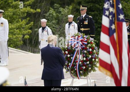 United States President Donald J Trump commemorates Memorial Day by participating in a Wreath Laying ceremony the Tomb of the Unknown Soldiers at Arlington National Cemetery in Arlington, Virginia on Monday, May 25, 2020.Credit: Chris Kleponis/Pool via CNP /MediaPunch - Stock Photo