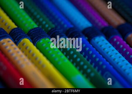 Pencil case with colored crayons Stock Photo