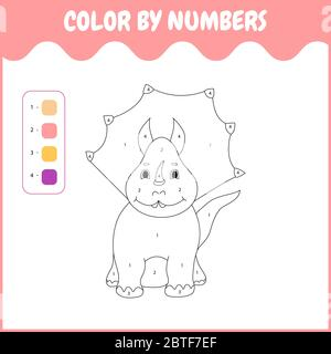 Numbers game.Game for children.Dinosaur - Stock Photo