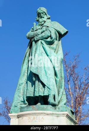 Budapest, HUNGARY - FEBRUARY 15, 2015 - Statue of king Bela IV in Hero's Square, Budapest, Hungary