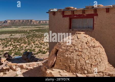 Horno, adobe-built outdoor oven in Acoma Pueblo (Sky City), Native American pueblo on top of a mesa in Acoma Indian Reservation, New Mexico, USA