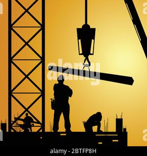 constuction worker at work with crane illustration - Stock Photo