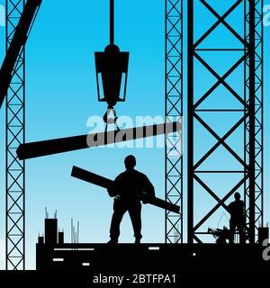 constuction worker silhouette at work vector illustration - Stock Photo