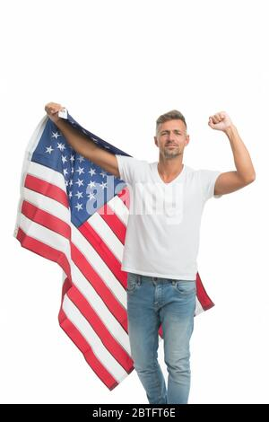 Freedom has never been free. Happy man celebrate independence day. American citizen hold american flag. Enjoying free life. Free expression of patriotism. July 4th. Free will of states. - Stock Photo