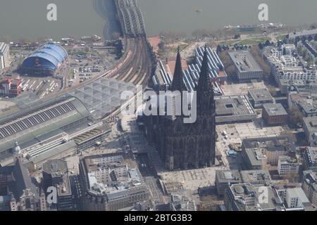 Luftbild vom Kölner Dom Aerial view - Stock Photo