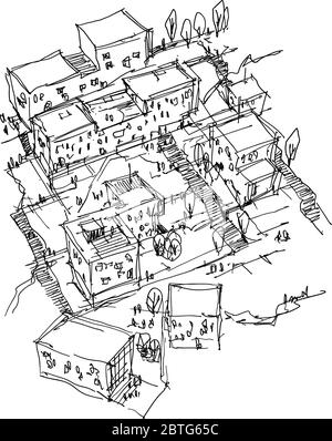 hand drawn architectural sketch of a modern urbanism with buidlings and people around