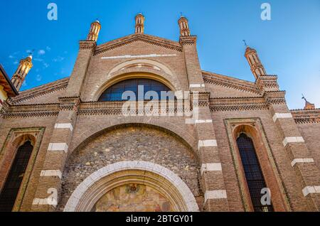 Chiesa di Santa Maria del Carmine Saint Maria of Carmine catholic church facade, Gothic style building, Brescia city historical centre, Italian churches, Lombardy, Northern Italy - Stock Photo