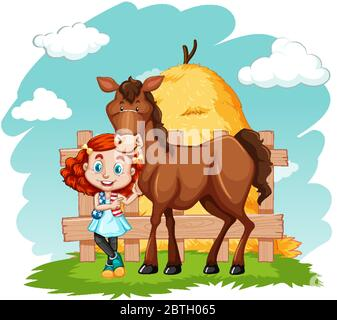 Scene with little girl and brown horse illustration - Stock Photo