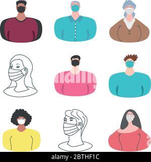 set icons of people wearing medical mask on white background vector illustration design