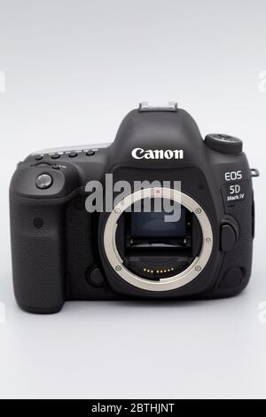 A Canon 5D Mark IV camera body. It is a full-frame digital single lens reflex (D-SLR) camera. - Stock Photo