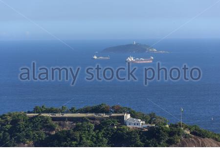 helm fort seen from the top of Morro da Urca in Rio de Janeiro Brazil. - Stock Photo