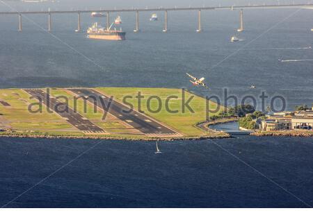 Santos Dumont airport seen from the top of Morro da Urca in Rio de Janeiro Brazil. - Stock Photo