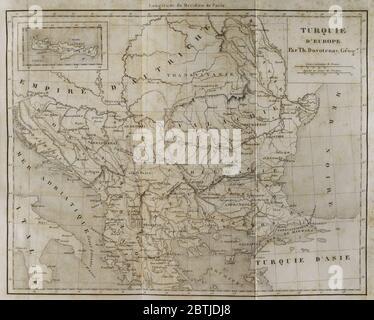 European Turkey map by Thunot Duvotenay. Historia de Turquia by Joseph Marie Jouannin (1783-1844) and Jules Van Gaver, 1840. Stock Photo