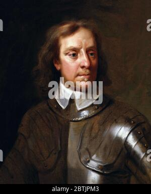 Oliver Cromwell. Portrait of Oliver Cromwell (1599-1658) in armour, after Samuel Cooper, oil on canvas, based on work of 1656 - Stock Photo