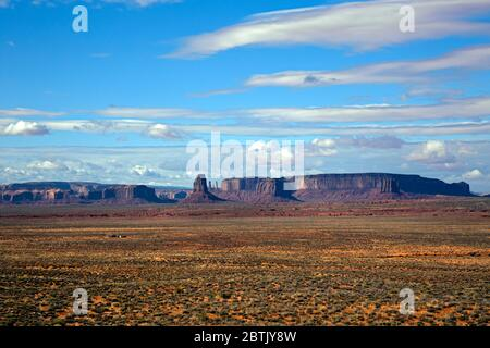 UT00701-00...UTAH - Monument Valley viewed from US Highway 163. - Stock Photo