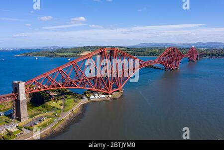 Aerial view of Forth Bridge crossing the River Forth at North Queensferry, Fife, Scotland, UK