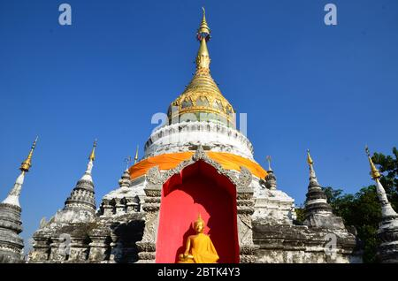 Chedi of Wat Buppharam in Chiang Mai - Stock Photo