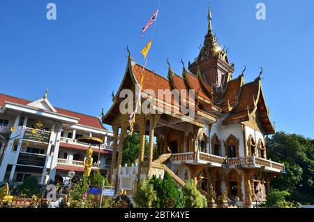Library building of Wat Buppharam in Chiang Mai - Stock Photo
