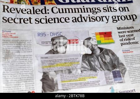 Newspaper headline 'Revealed: Cummings sits on secret science advisory group' Sage  in Guaridan 24 April 2020 London UK - Stock Photo